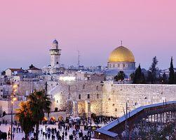Západ slunce nad Chrámovou horou v Jeruzalémě