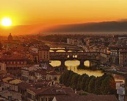 Západ slunce nad Florencií
