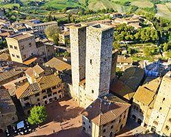 San Gimignano z ptačí perspektivy