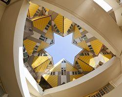 Kubické domy Rotterdamu v detailu