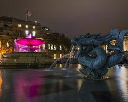 Rozzářené Trafalgarské náměstí