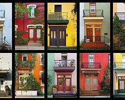 Koláž barevných domků v Montrealu