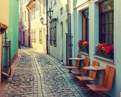 Staré středověké ulice v Rize