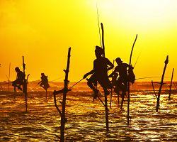 Rybáři při západu slunce poblíž Galle