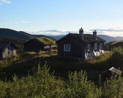 Typické horské domky v NP Rondane