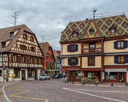 Typické alsaské hrázděné domy v Obernai