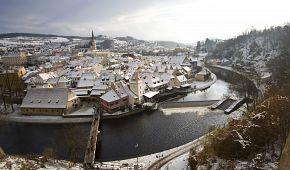 Zimní pohled na Český Krumlov