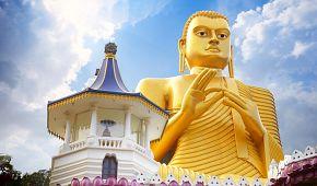 Zlatá socha Buddhy v Dambulle