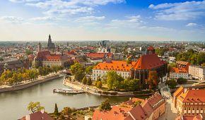 Pohled na staré město Wroclaw