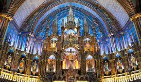 Úchvatný interiér katedrály Notre Dame v Montréalu