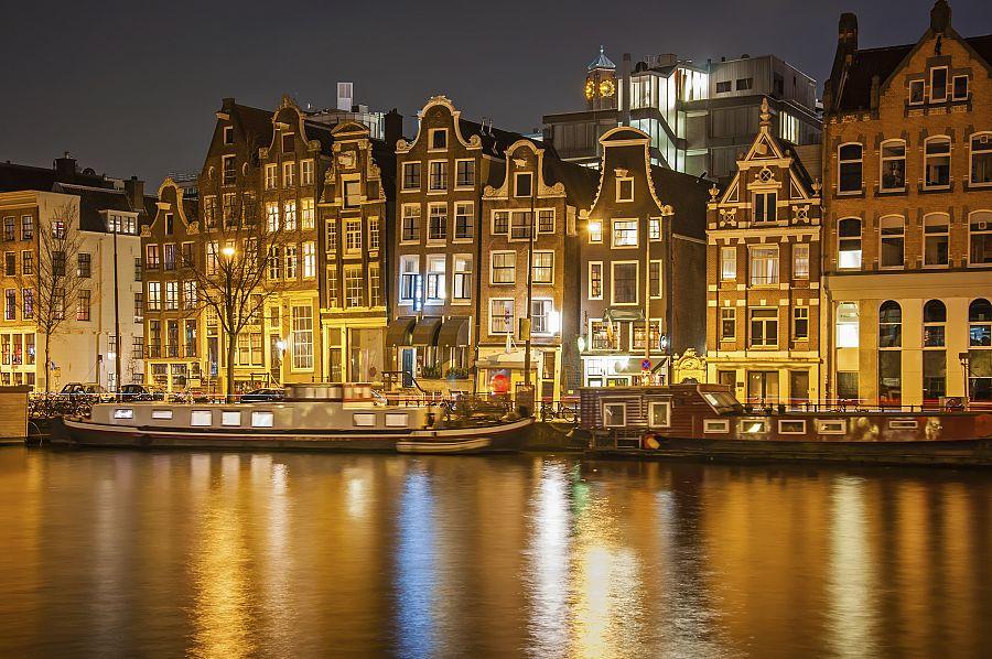 Nizozemí - Amsterdam večer