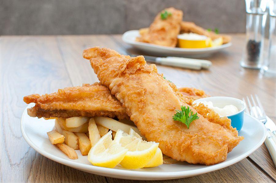Britský pokrm Fish and Chips