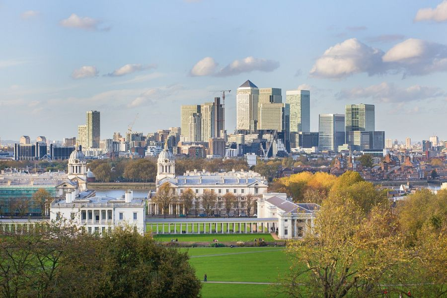 Pohled na Greenwich a park