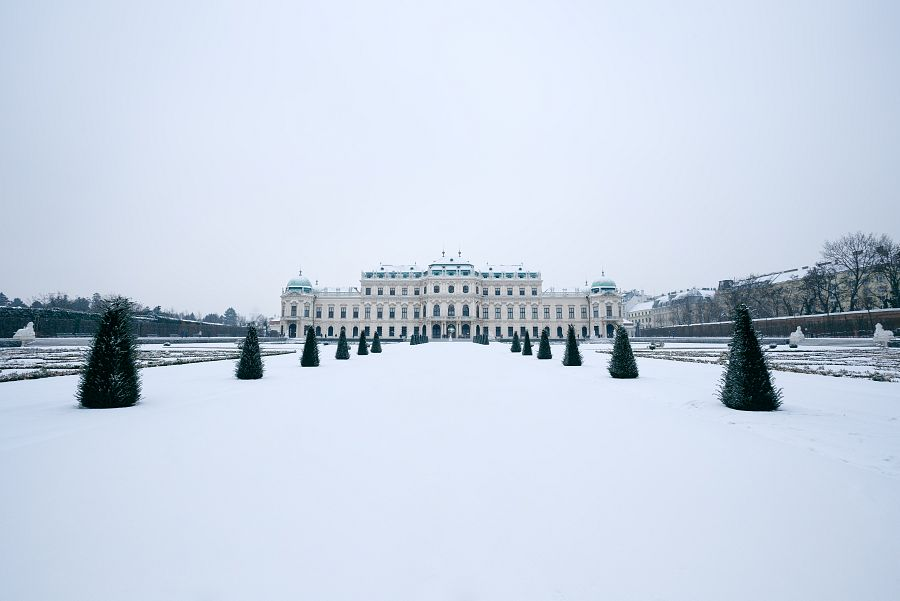 Belvedere palace of Vienna in winter time