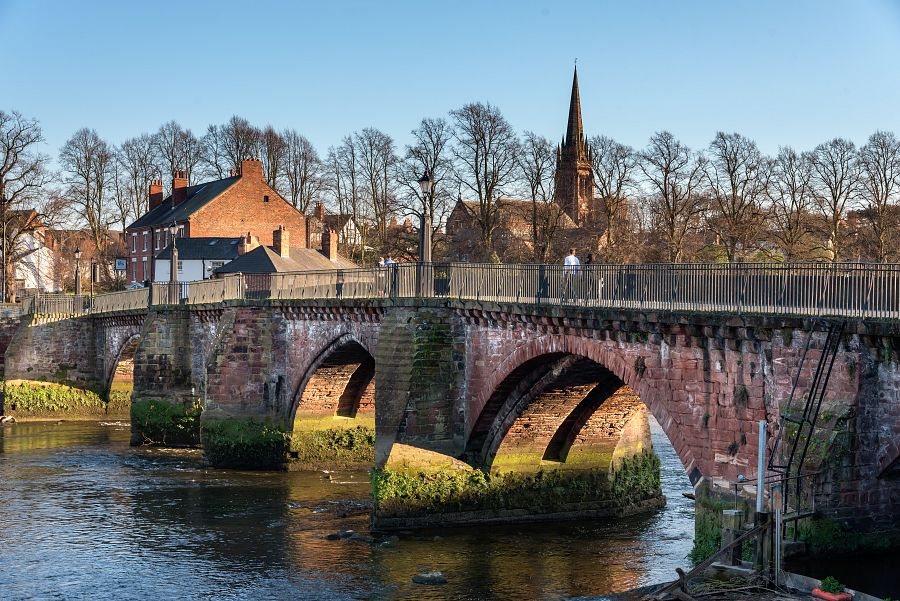 Grosvenor bridge is a stone arch bridge in Chester, UK, spaning over river Dee