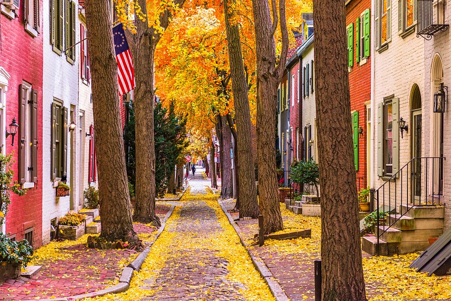 Ulička v Philadelphii na podzim